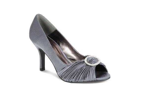 Diamonte mid heel shoes charcoal
