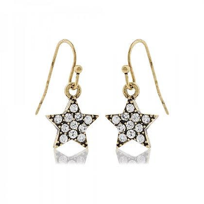 Star drop earrings gold