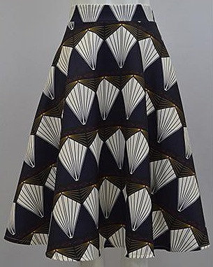 Graphic kite print skirt in navy