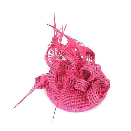 Mini fascinator on clip pink