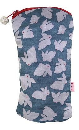 Rabbit glasses purse in blue