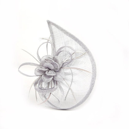 Sail fascinator in silver grey