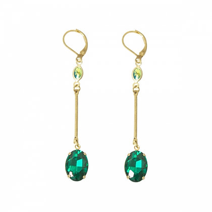 Emerald green long drop earrings