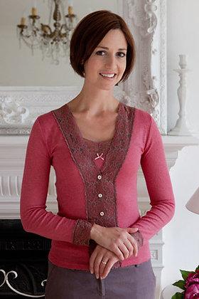 Gabriella Knight lace cardigan raspberry
