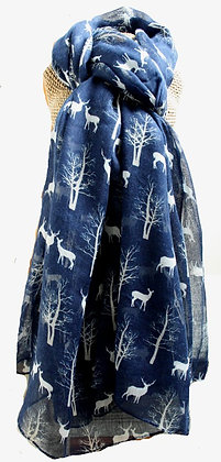 Stag & tree print scarf in navy