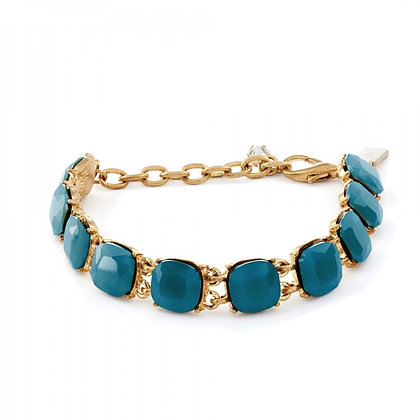 Cushion cut teal crystal bracelet