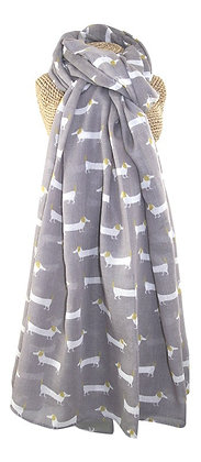 Sausage dog print scarf in grey