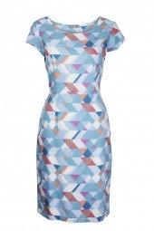St Agnes geo dress in azure