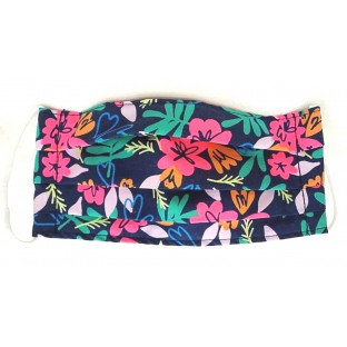 Pleated cotton face mask tropical floral