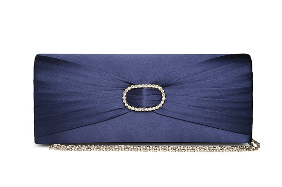 Diamonte satin clutch bag navy