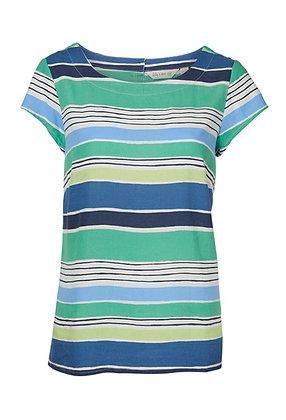 Stripe linen top in blue