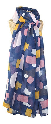 Colour block print scarf in blue