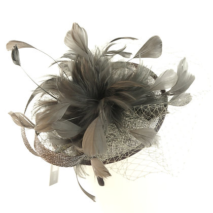 Charcoal grey capette fascinator on band