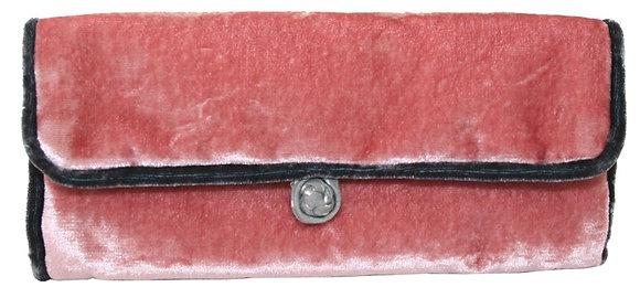 Velvet jewellery roll in dusty pink