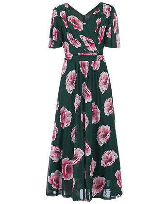 Floral mesh dress in green