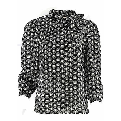 Shell print blouse in black