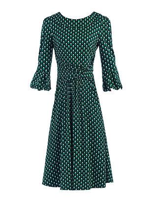 Geo ovals midi dress in green