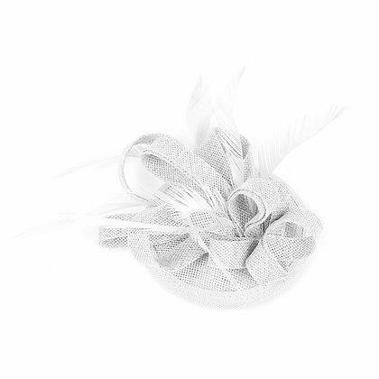 Mini fascinator on clip silver grey