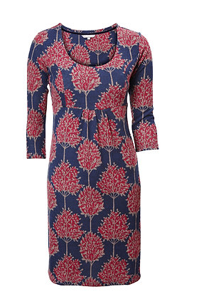 Forest dress in navy and plum
