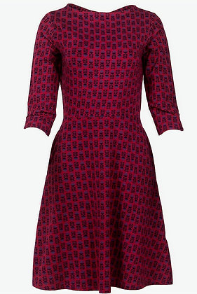 Abstract flower print dress in wine red