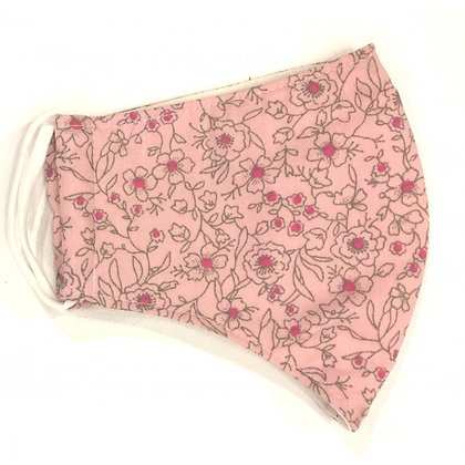 Curved cotton face mask pink floral