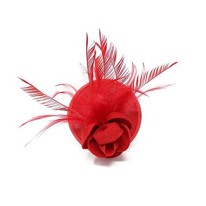 Mini fascinator on clip red