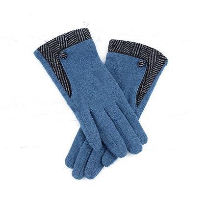 Herringbone gloves in teal