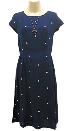 Jill polka dot dress in navy