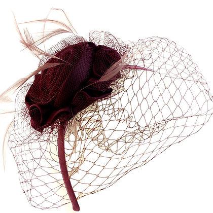 Burgundy rose fascinator on band
