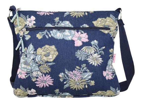 Floral messenger bag in denim