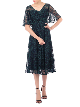 Lace overlay midi dress in navy