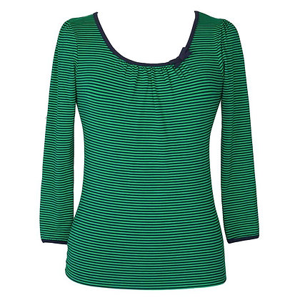 Sailor stripe top in green and navy