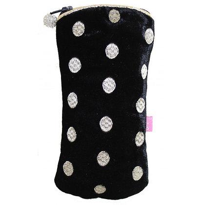 Ovals velvet glasses purse in black