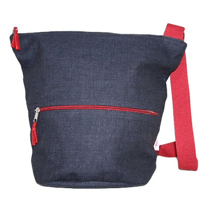 Thick Cotton Bucket Slouch Bag in navy