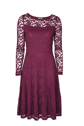 Edgeworth lace dress in burgundy