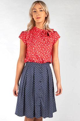 Polka dot skirt in navy