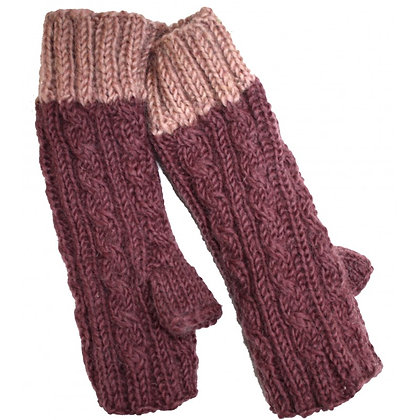 Knit handwarmers in mauve/lilac