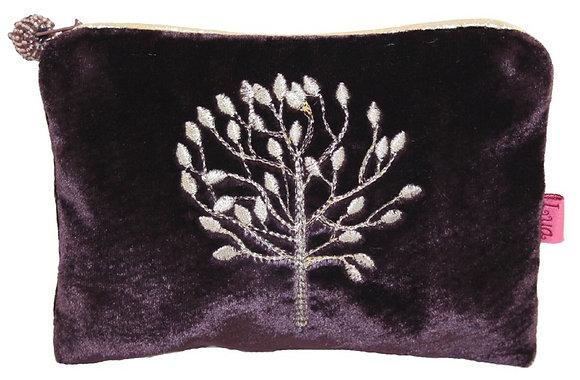 Mulberry velvet purse in plum