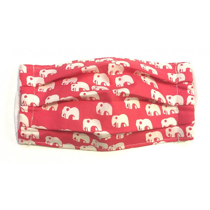 Pleated cotton face mask red elephant
