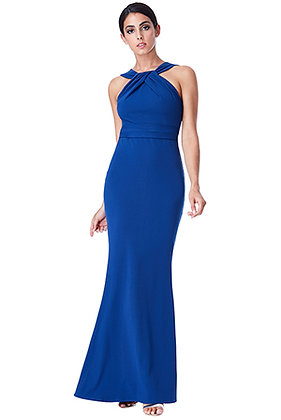 Pleat neckline gown in royal blue