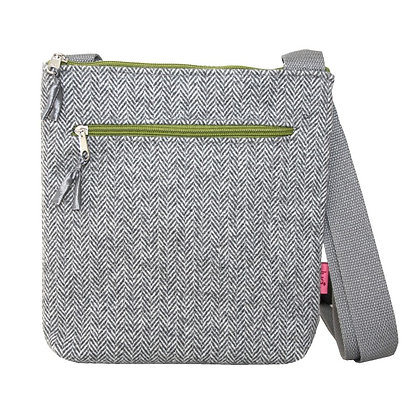 Herringbone cross body bag in grey