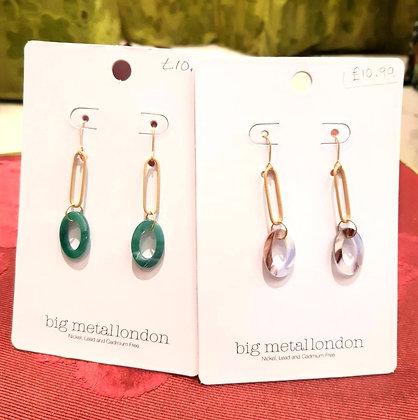 Resin oval drop earring