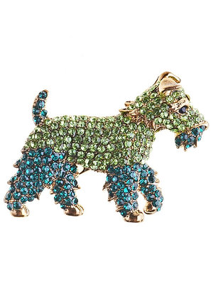 Dazzling Green Fox Terrier Hairclip and Brooch