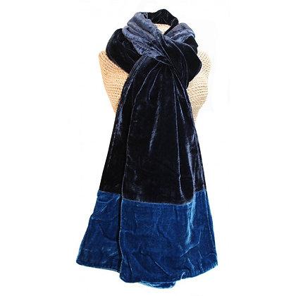 Velvet two tone scarf in blue