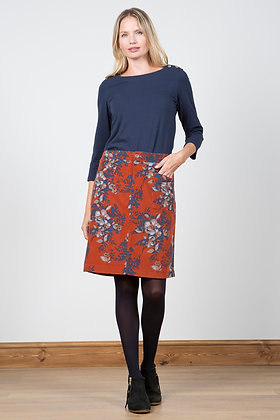 Floral cord skirt in rust