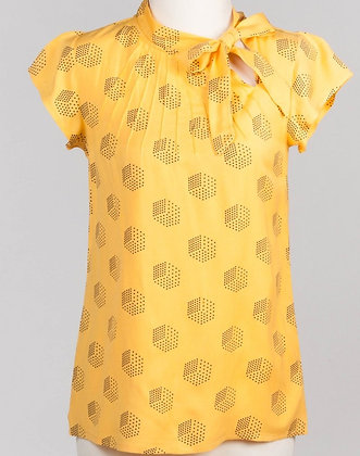 Dice print blouse in yellow