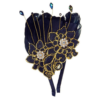 Black and gold feather head band