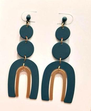 Disc horseshoe two tone statement earrings