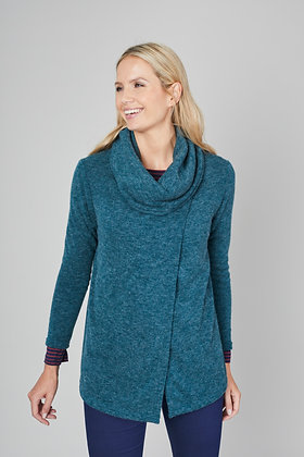Cowl neck cardigan in teal