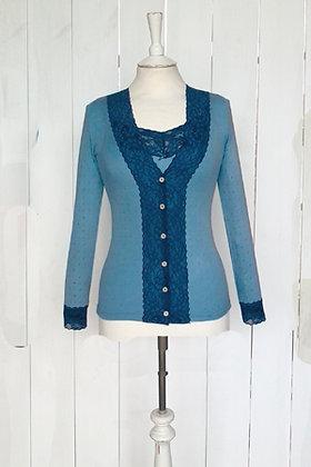 Gabriella Knight lace cardigan egg shell & blue